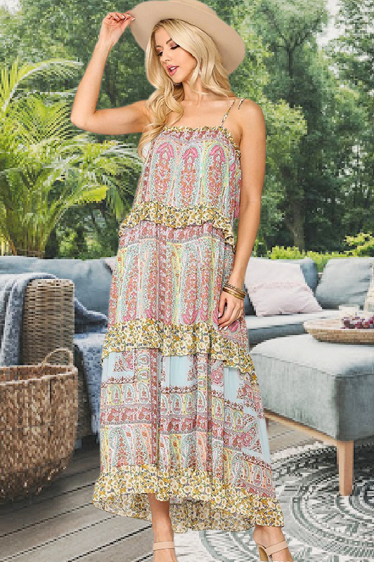 Pretty Woman Floral & Paisley Mix Print Maxi Dress by Gigio