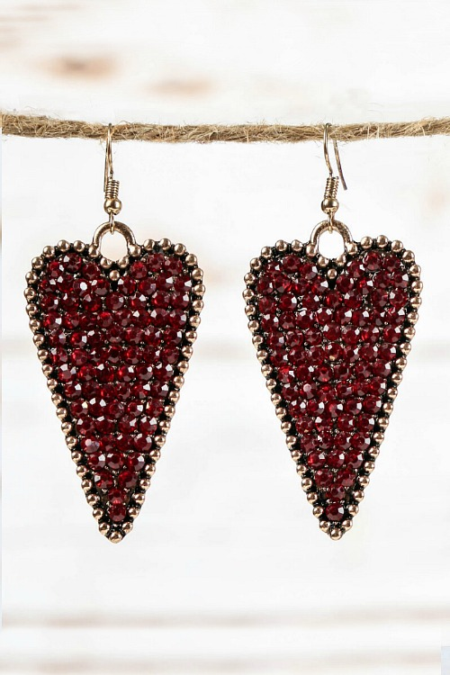 Crystal Heart Earrings - Maroon