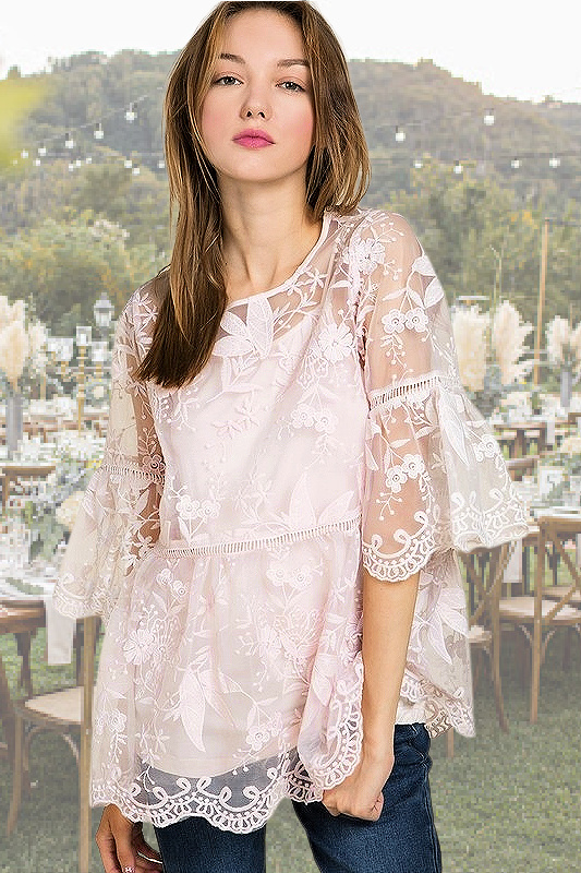 POL Marry Me Lace Top - Pink
