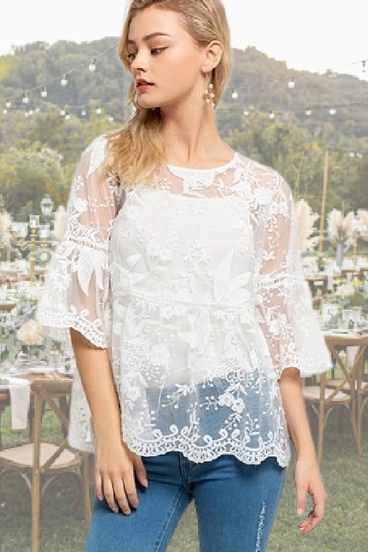 POL Marry Me Lace Top - White