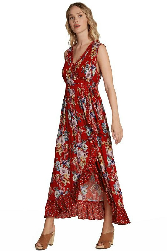 Melony Red Floral Maxi Dress