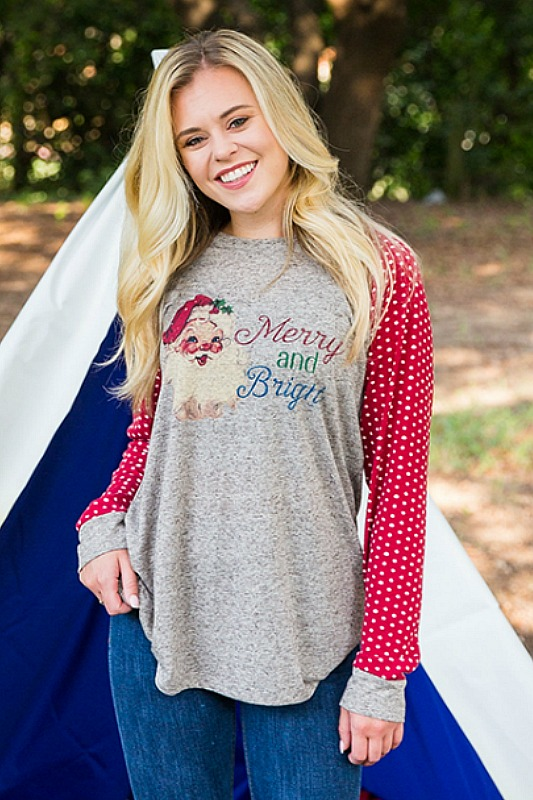 Plus Size Merry and Bright Santa Top
