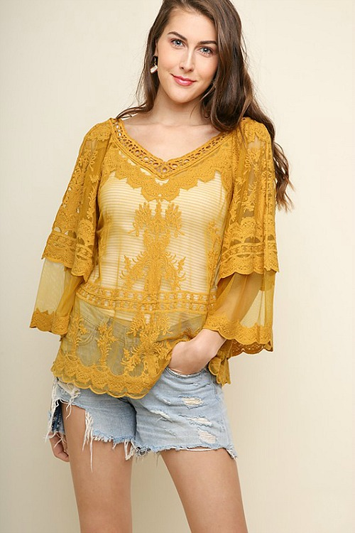 Umgee Mustard Lace Top