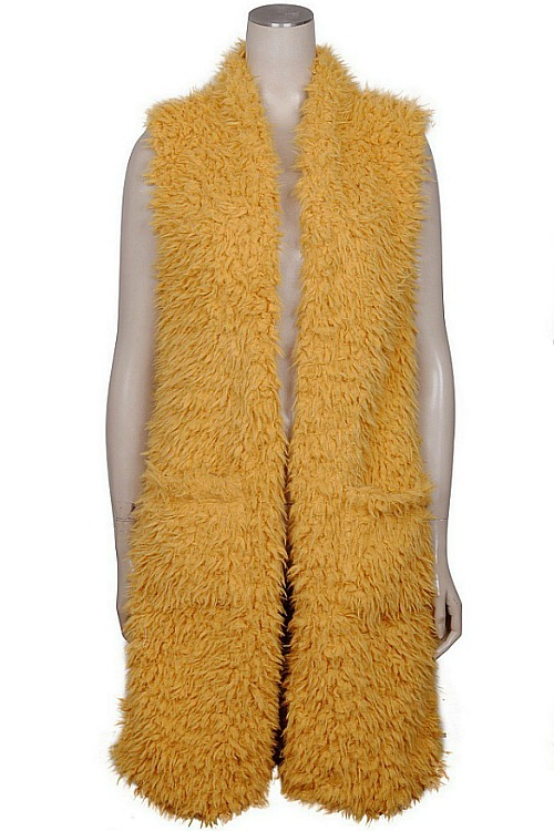 Plush Faux Fur Vest - Mustard