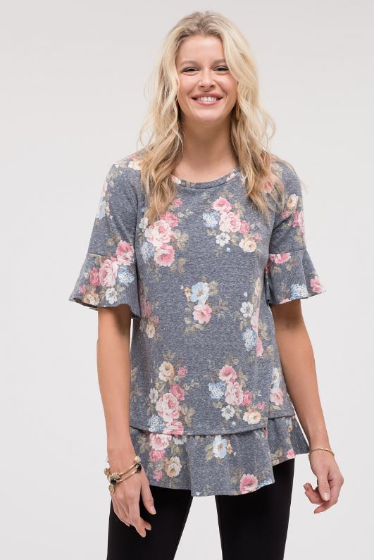 Hey There Floral Top - Navy
