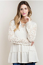 Romantic Lace Sleeved Hoodie - Natural