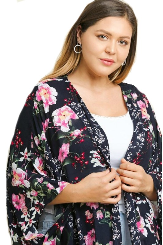 Plus Size Love At First Sight Navy Floral Kimono by Umgee