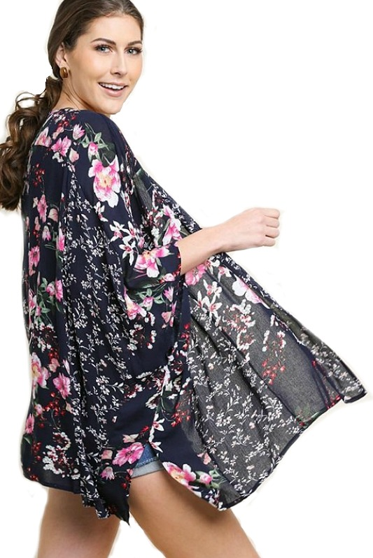 Love At First Sight Navy Floral Kimono by Umgee