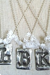Hand Stamped Molten Solder Custom Initial Necklace