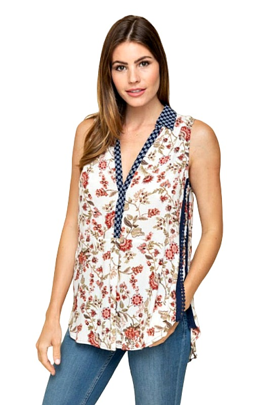 No Mix Up Here Sleeveless Print Top