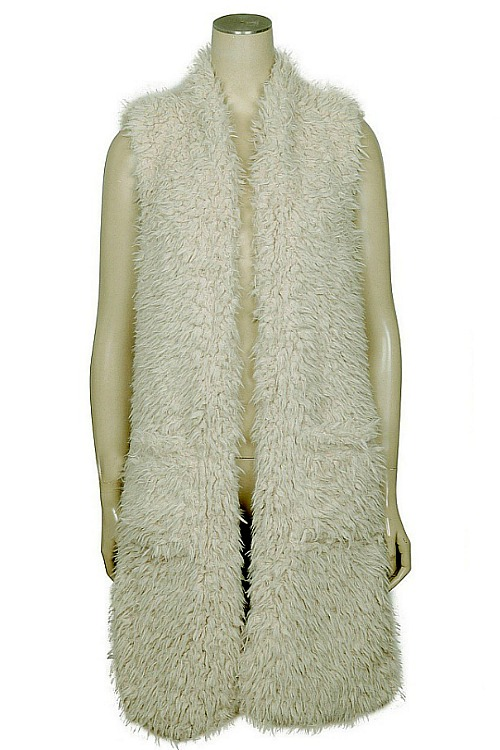Plush Faux Fur Vest - Oatmeal