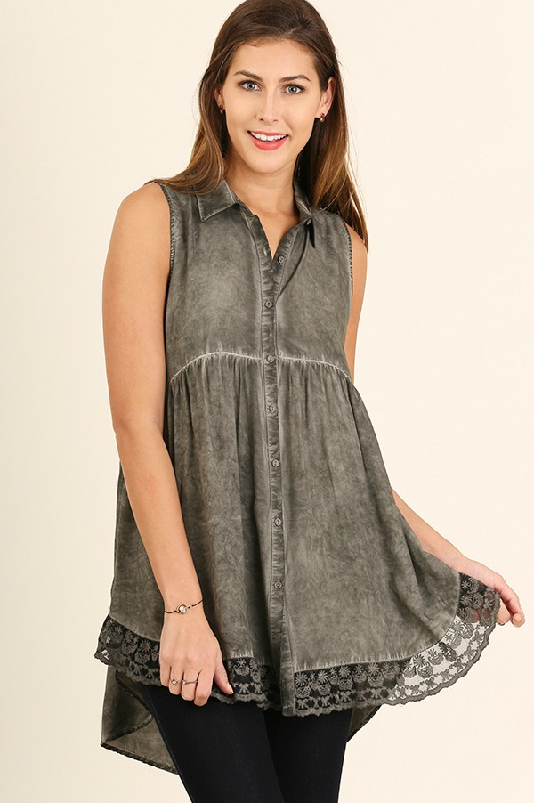 Umgee Sleeveless Tunic with Lace - Olive