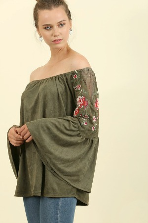 Boho Babe Embroidered Suede Top - Olive