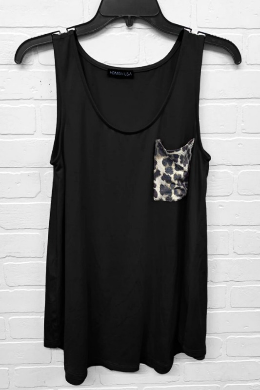 Black Tank Top With Leopard Pocket