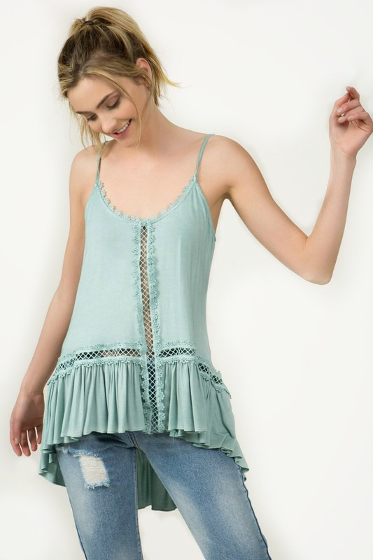 Claim To Fame Crochet Lace Cami Top