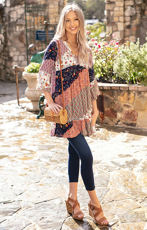 Belle Tunic Dress in Patchwork by Grace and Lace