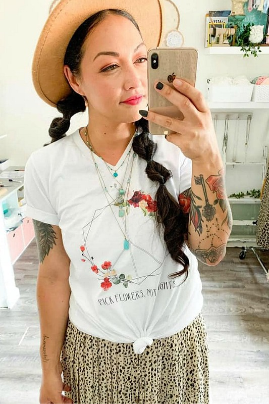 Pick Flowers Not Fights V Neck Tee