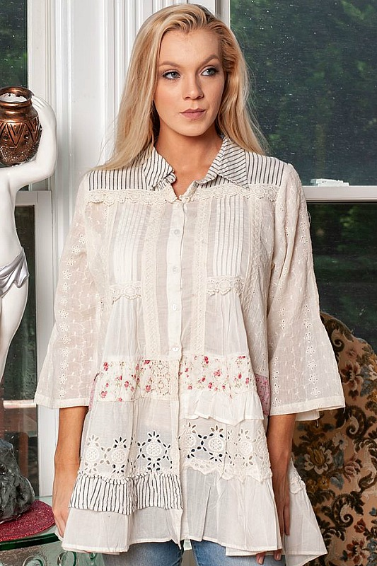 Plus Size Pink Patchwork Shirt by Paper Lace