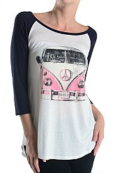 VW Pink Van Graphic Baseball Top