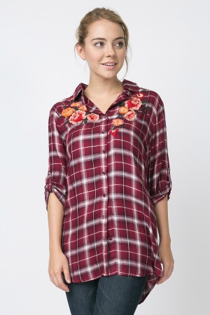 Plus Size Fall Floral Plaid Top