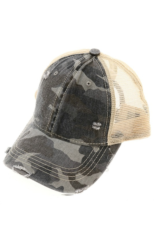 Unisex Camouflage Distressed Cap by CC Beanie - Grey