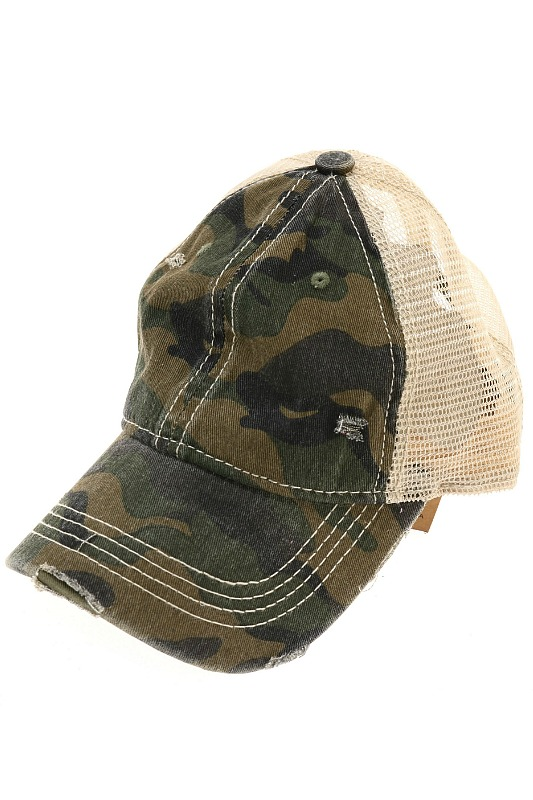 Unisex Camouflage Distressed Cap by CC Beanie- Olive