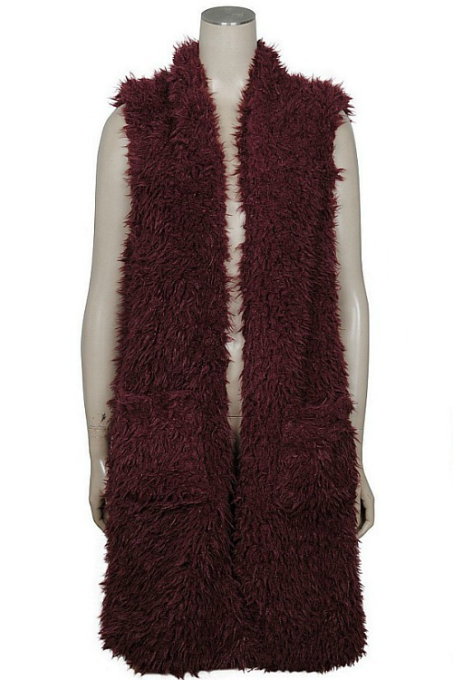 Plush Faux Fur Vest - Plum