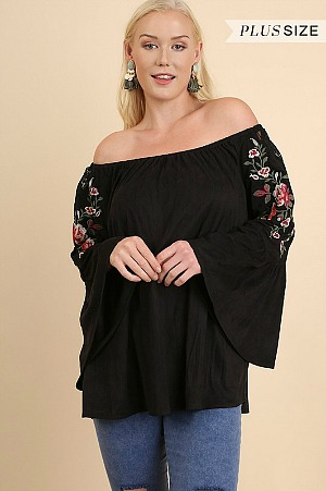 Plus Size Boho Babe Embroidered Suede Top - Black