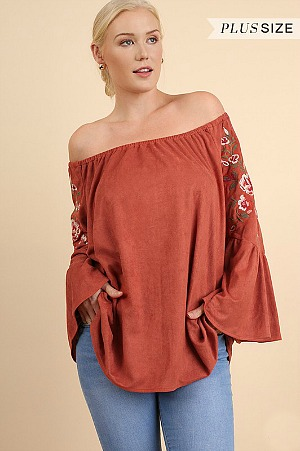 Plus Size Boho Babe Embroidered Suede Top - Clay