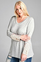 Plus Size Candy French Terry Top - Heather Grey