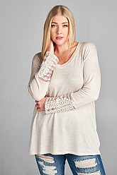 Plus Size Candy French Terry Top - Oatmeal