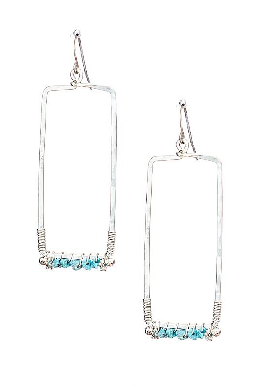 Rectangle Silver Earrings With Turquoise Beads