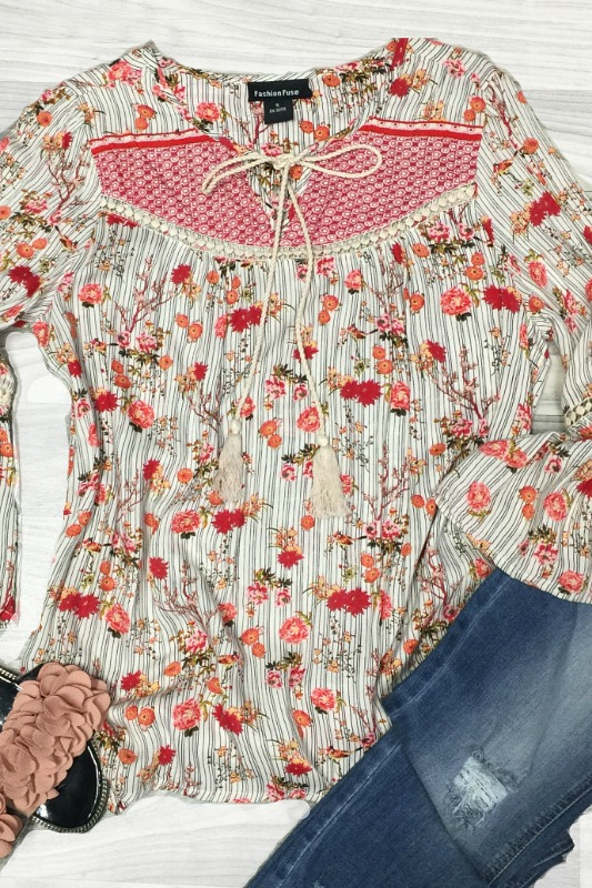 Red Bohemian Babe Floral Blouse