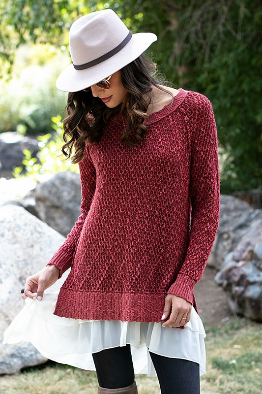 Honeycomb Knit Sweater - Earth Red