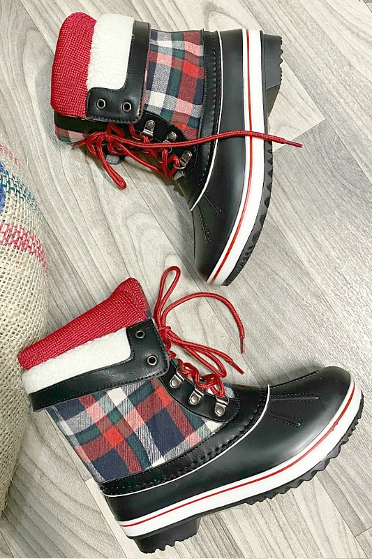 Checkered Plaid Winter Duck Boots With Sherpa Detail