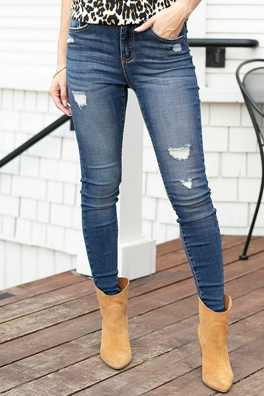 Grace & Lace Re-Purposed Distressed Denim Jeans