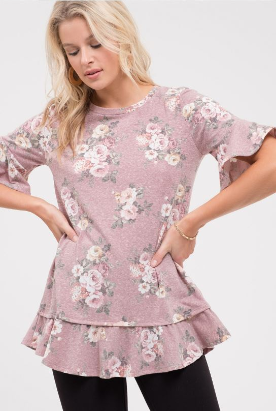 Plus Size Hey There Floral Top - Rose