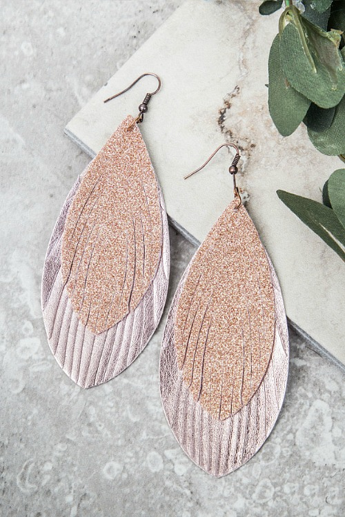Glitter Feather Earrings - Rose Gold