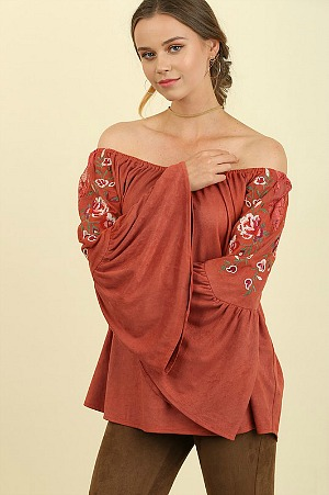 Boho Babe Embroidered Suede Top - Clay