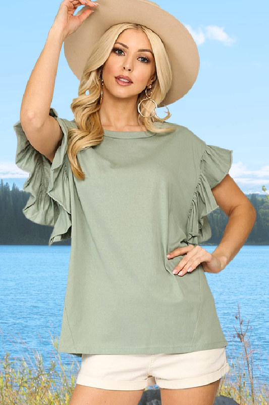 Dusty Mint Cotton Knit Top With Flutter Sleeves