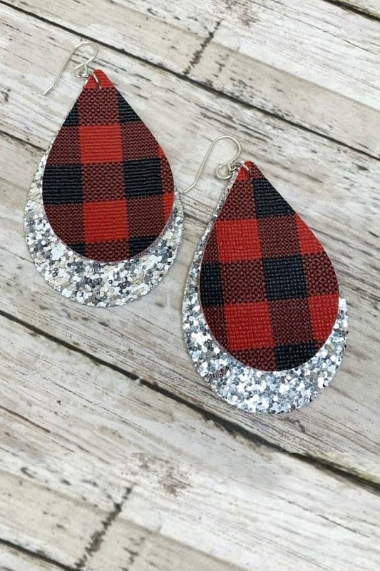Pour Some Glitter On Me Buffalo Check Earrings - Silver