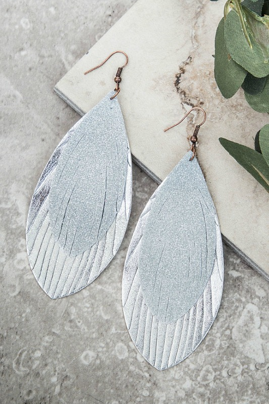 Glitter Feather Earrings - Silver