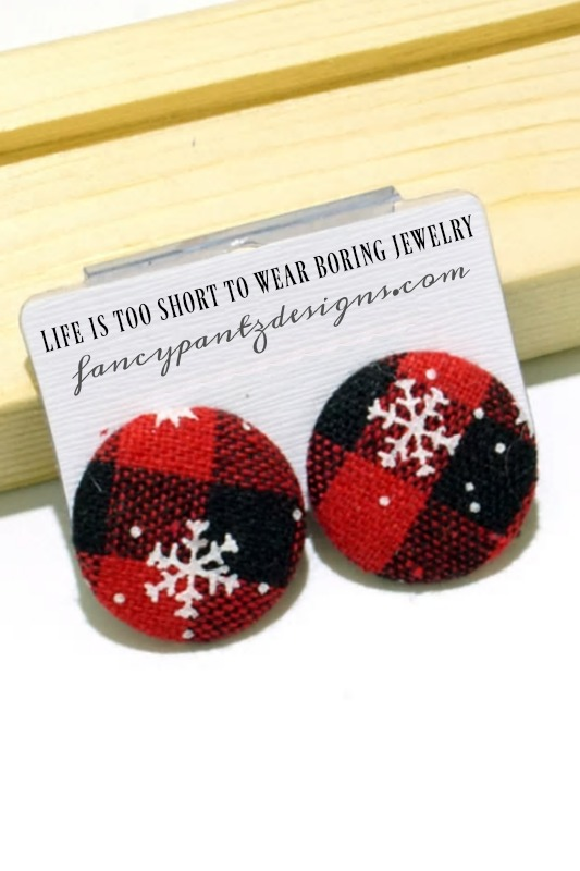 A Winter Wonderland Plaid Button Earrings