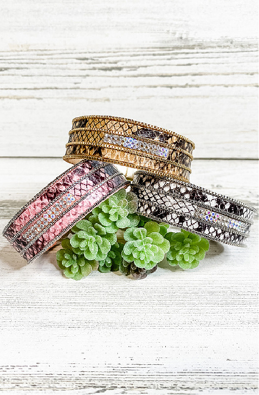 Snake Print Magnetic Cuff Bracelet With Crystals