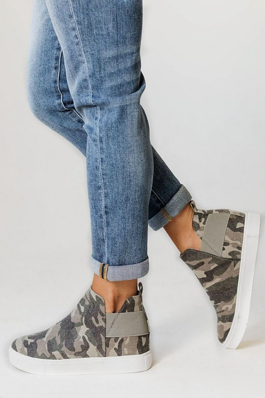 Diana Wedge Camo Sneakers by Soda Shoes