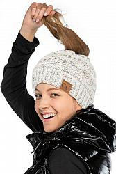 CC Speckled Ponytail Messy Bun Beanie