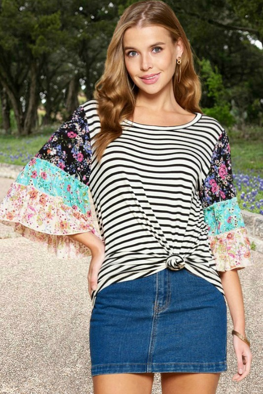 Stripes and Florals All About Me Top