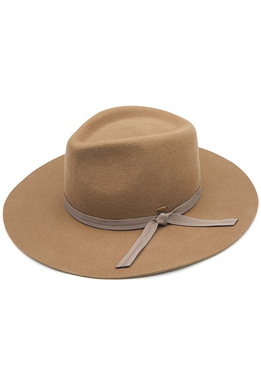Wool Felt Panama Hat With Grosgrain Bow - Taupe