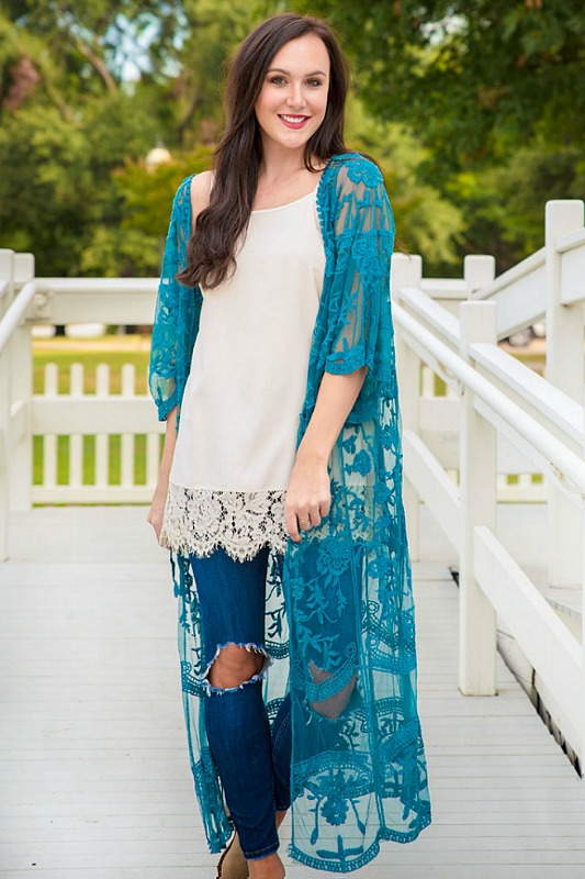 Wrapped Around Your Finger Teal Lace Kimono