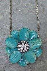 Flower Necklace - Teal